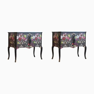 Vintage Gustavian Louis XV Style Floral Chest of Drawers, Set of 2