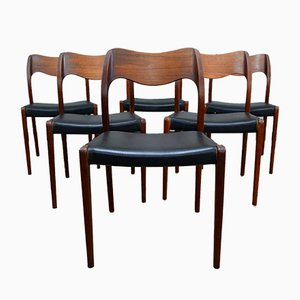 Model 71 Dining Chairs by Niels Otto Møller for J.L. Møllers, 1950s, Set of 6