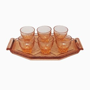 Art Deco French Peach Pink Brandy or Whiskey Set, 1930s, Set of 7