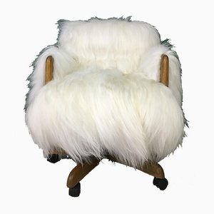 Vintage Danish Sheepskin Desk Chair