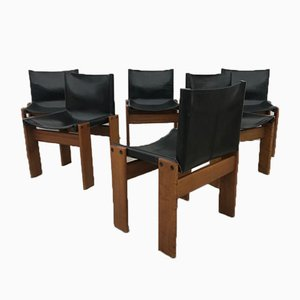 Black Leather Monk Dining Chairs by Tobia & Afra Scarpa, 1970s, Set of 6