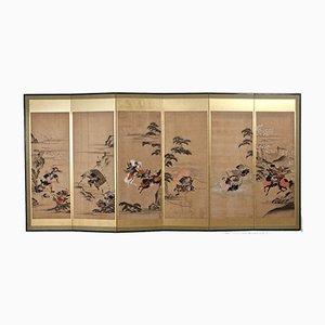 Wandschirm mit 6 lackierten Blättern