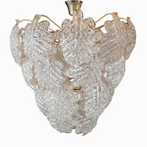 Mid-Century Ceiling Lamp with Murano Glass Leaves from Mazzega