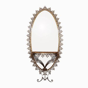 Large Italian Mirror with Onyx Console by Pier Luigi Colli for Pier Luigi Colli, 1950s