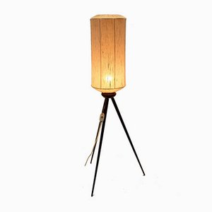 Mid-Century Tripod Floor Lamp with Teak Legs and Textile Lampshade, 1950s