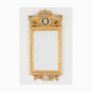 Antique Gustavian Mirror with Gem and Crown