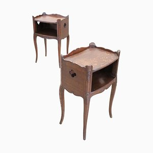 Vintage Carved Oak Nightstands, 1930s, Set of 2