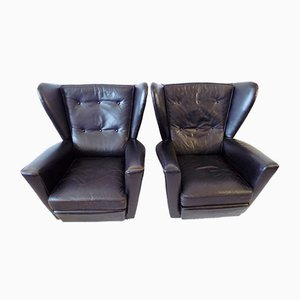 Black Leather Lounge Chairs by Howard Keith for HK furniture, 1960s, Set of 2
