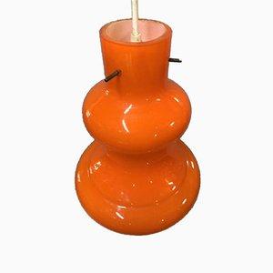 Lampada da soffitto arancione opalino, anni '70