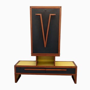 Mahogany and Painted Wood Secretaire by André Sornay, 1950s