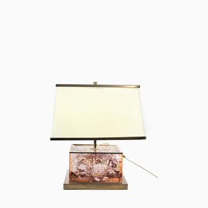 Table Lamp in Brass & Resin with Gold Elements and Original Lampshade by Romeo Rega, 1950s