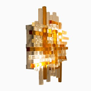 Large Murano Venezia Wall Sconce in Transparent Glass & Orange Prisms from Poliarte, 1960s