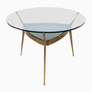 Brass and Transparent Glass Round Smoking Table by Cesare Lacca, 1950s