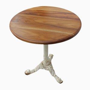 Runder Pub Tisch aus Gusseisen mit Holzplatte, 1940er