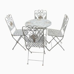 Metal Bistro Dining Table & Fold-Up Chairs Set, 1980s, Set of 5