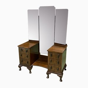 English Walnut Chippendale Dressing Table, 1930s