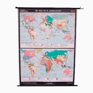 School Teaching World Map of the 19th Century from Velhagen & Klosing, 1961