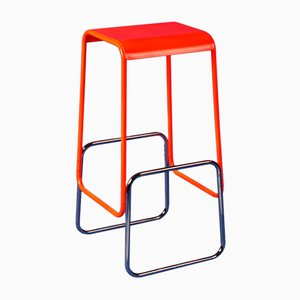 Profilni Barstool with Fluorescent Orange Top and Chrome Bottom by Gilli Kuchik & Ran Amitai, 2013