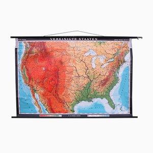 Mappa didattica scolastica degli Stati Uniti di Justus Perthes Darmstadt, anni '60