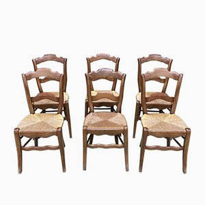 Vintage Walnut and Straw Dining Chairs, Set of 6