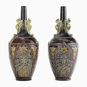 Antique Bottle Vases with Griffins by Frank Butler for Doulton Lambeth, 1880s, Set of 2