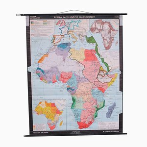 Afrikanische Schulwandkarte von Leisering & Schulze für Velhagen & Klasing, 1950er