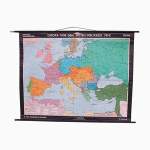 Vintage Schulwandkarte von Europa
