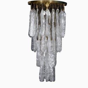 Grande Lampe à Suspension Vintage avec Feuilles en Verre de Murano