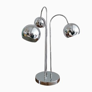 Mid-Century American Chromed Steel 3-Globe Table Lamp, 1960s