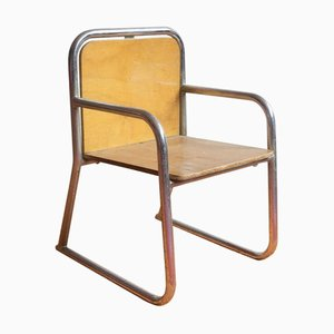 Wood and Chrome Tubular Childrens Chair, 1960s