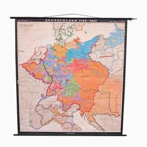 Mapa mural de Alemania de Haach Hertzburg para Perthes Darmstadt, años 50