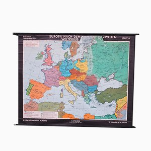 Vintage School Europe Wall Map by Leisering & Schulze for Velhagen, 1950s