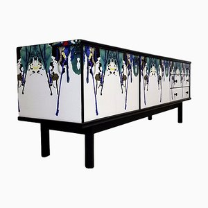 Mid-Century Decoupaged TV Unit Sideboard, 1950s