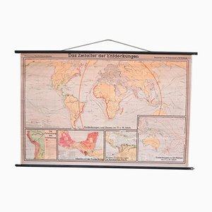 Schulwand Weltkarte von Haferland & Trillmich für Westermann, 1950er