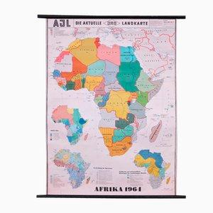 Vintage Schulwandkarte von Afrika 1964