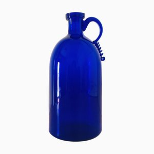 Blue Bottle with Profiled & Polished Edge Attributed to Vittorio Zecchin for A.VE.M, 1940s