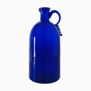 Bottiglia blu con bordo sagomato e lucidato attribuita a Vittorio Zecchin per A.VE.M, anni '40