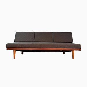 Mid-Century Norwegian Teak and Anthracite Fabric Svanette 3-Seater Daybed by Ingmar Relling for Ekornes, 1960s