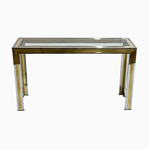 Italian Brass and Chrome Console Table, 1970s