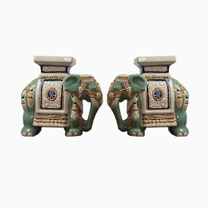 Vintage Ceramic Elephant Sculptures, 1970s, Set of 2