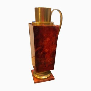 Mid-Century Red Goatskin and Brass Thermos Carafe by Aldo Tura, 1960s