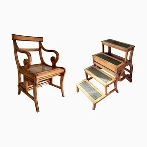 Antique English Regency Fruitwood Library Step Chair, 1880s