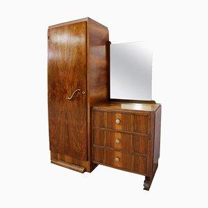 Art Deco Walnut Wardrobe, Chest Vanity Unit, & Mirror, 1930s