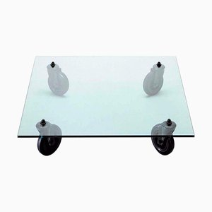 Glass Coffee Table with Wheels by Gae Aulenti for Fontana Arte, 1980s