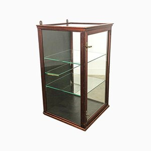 Small Antique Display Showcase Vitrine in Wood and Brass