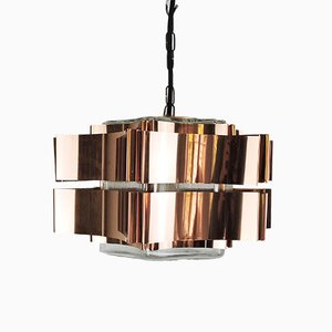 Six Pointed Copper & Glass Pendant Lamp, 1970s