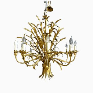 Vintage Golden Sheet Metal Chandelier
