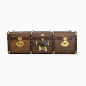 Französischer Holz Koffer mit Messing Beschlägen von Soyez Pere, 1920er
