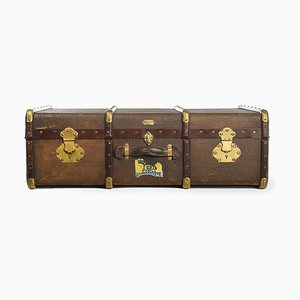 French Wooden Suitcase with Brass Fittings from Soyez Pere, 1920s