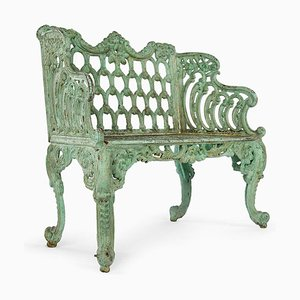 Green Cast Iron Bench, 1940s